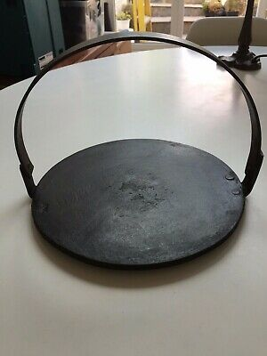 Antique Cast Iron Griddle Plate with Handle