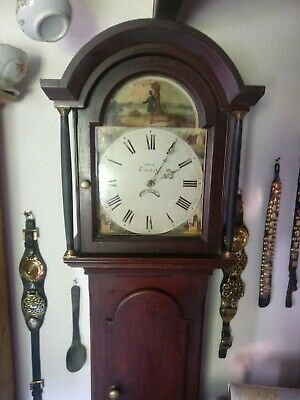 19thC Longcase Grandfather Clock 30hr Arched Painted Dial Fly Fishing Rod Creel