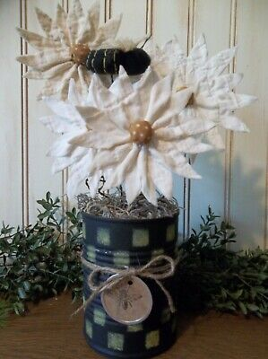 Gathering of Primitive Daisies in Painted Tin Can - Farmhouse/Country/Summer