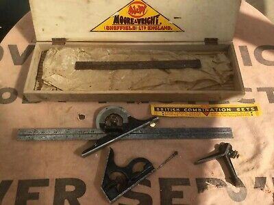 """Vintage Moore & Wright Sheffield 18"""" Rule Clamp Protractor Combination Set Boxed"""