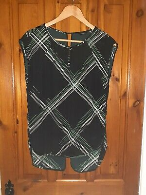 AUTOGRAPH (M&S) size 8 Black Print Top (big Fitting) Worn  Once Vgc