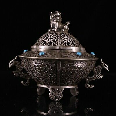 Collectable Handwork Pure Copper Carved Lion Auspicious Beautiful Incense Burner
