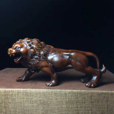 Decoration Ancient Boxwood Carved Strong Fierce Lion Open Mouth Exquisite Statue