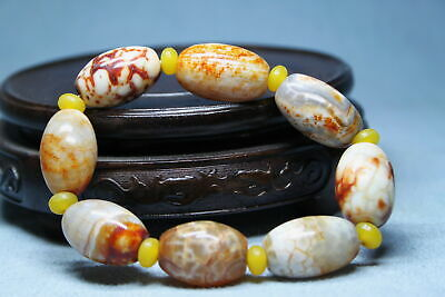 Collectable Noble Agate Polishing Flower Beads Auspicious Elegant Hand Catenary