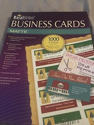 Royal Brites business cards MaTTE 8.5 BY 11