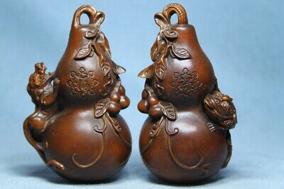 Collectable Ancient Boxwood Carved Pair Of Gourd Auspicious Beautiful Statue