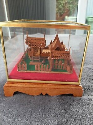 Thai/Oriental Wooden Mounted Diplay Piece Of Traditional House. With Cover.