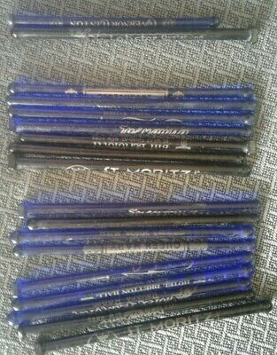 Vintage Lot 17 NY NYC Advertising Glass Cocktail Stirrers Swizzle Stick Cobalt