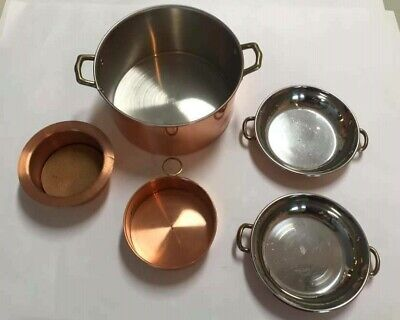 Beautiful Vintage Copper Cook Pot and Mini Pans Coaster Aurus Portugal Lot of 5