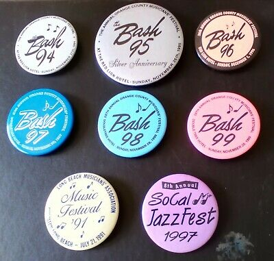 """Participants Badges (8) for SoCal Music Events 1994-99, 2"""" to 3"""" in diamater"""