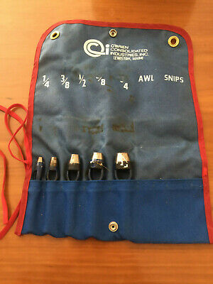 """O' Brien Consolidated Industries Arch Punch Set Of 5 With Pouch Size 1/4"""" to 3/4"""