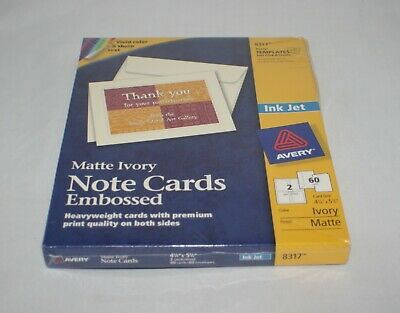 """Avery 8317 Note Cards Matte Ivory 2-Sided Printing 4-1/4"""" x 5-1/2"""" 60 Cards ~NEW"""