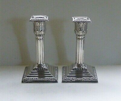 Pair of Antique Sterling Silver Candlesticks, Sheffield 1903, by Thomas A Scott