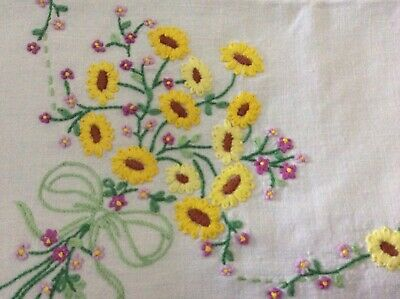 vintage hand embroidered linen tablecloth 42ins X 40ins