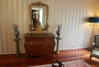 Pair of French Antique Repoussé Brass Jardiniere Stands