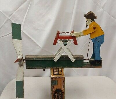 Vintage Whirligig Man Sawing Motion Windmill Weather Vane Folk Art Farm Garden