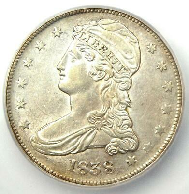 1838 Capped Bust Half Dollar 50C - Certified ICG AU55 - Rare Coin - $585 Value!