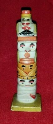 """Vintage Bisque Indian Totem hand painted figurine. Stamped """"Made in Japan""""."""