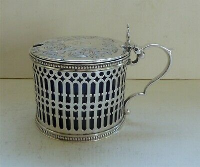 Superb Victorian Sterling Silver Pierced Mustard Pot, Birmingham 1854, W. Gough
