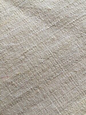 Antique French Striated Linen Sheet or Panel Heavy Fabric