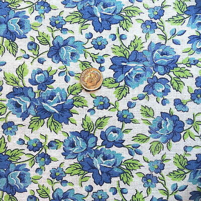"""Vintage Partial Feed Sack Lovely Aqua & Blue Roses   approx 21"""" x 18"""""""