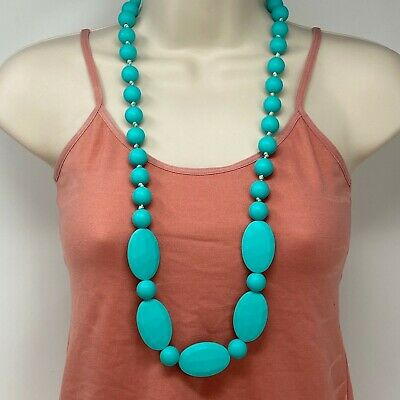 """Turquoise Blue Teething Necklace 34"""" Long Soft Rubbery Beads For Babies"""