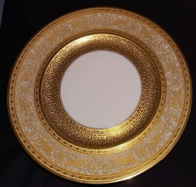 "10 Gold Encrusted Service Plates ""Over The Top"" Gilt Hutschenreuther Bavaria"