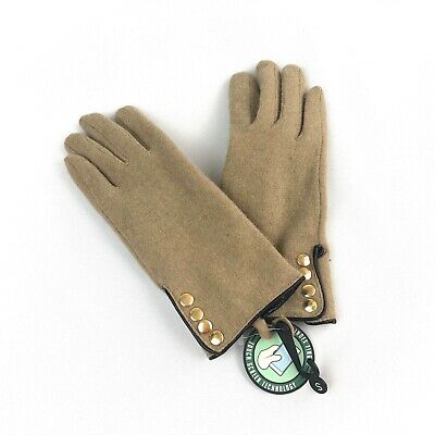 NEW GH Fashion Wool/Nylon Gloves Tan Camel Gold Buttons Touchscreen Fingers S
