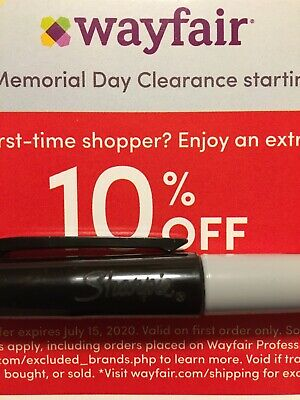 Wayfair 10% OFF FIRST ORDER Coupon Discount Code       Exp JULY 31 2020