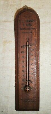 1924 Advertising Wood Thermometer Ej Unangst & Sons Department Store Nazareth,Pa