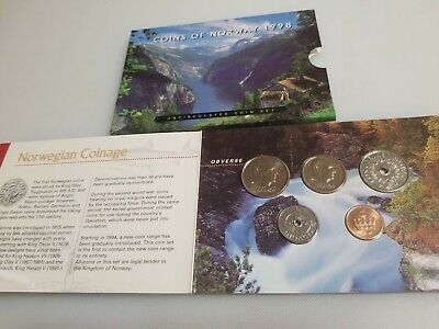 Norway 1998 UNC 5-Coin Set in Official Royal Mint Fjord Nature Cover - EXCELLENT