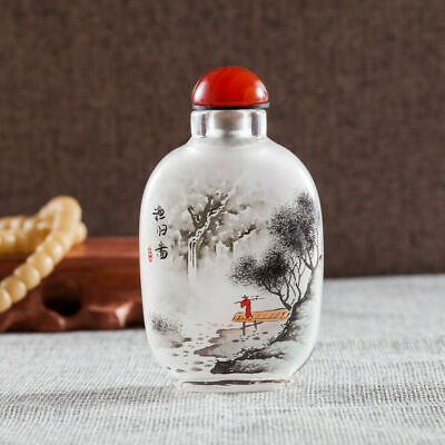Inner Painting Snuff Bottle Chinese Antique Fisherman Returned From Landscape