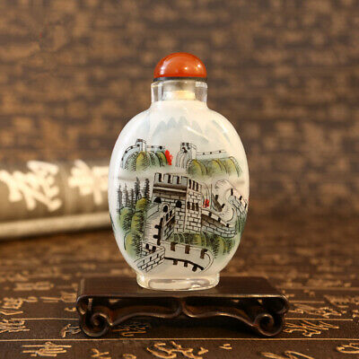 Inner Painting Snuff Bottle Chinese Antique The Great Wall as Christmas Gift
