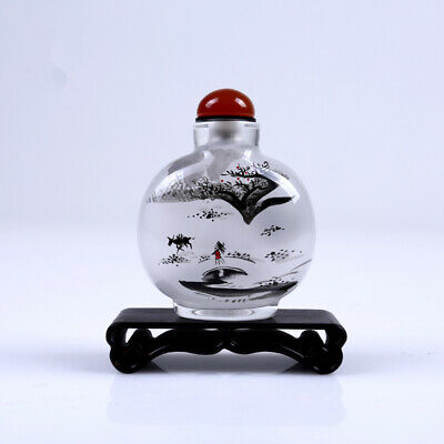 Inner Painting Snuff Bottle Chinese Antique Visit Friend in Snow Christmas Gift