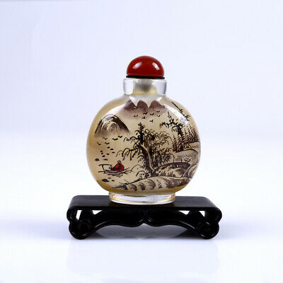 Inner Painting Snuff Bottle Chinese Antique Ancient Landscape Christmas Gift