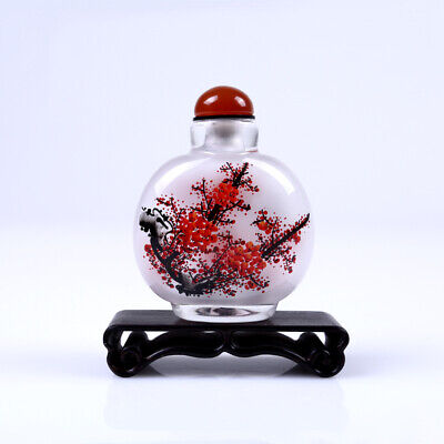 Inner Painting Snuff Bottle Chinese Antique Plum Blossom Tells Happy Events