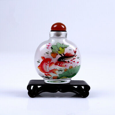 Inner Painting Snuff Bottle Chinese Antique Beautiful Fishes Symbolize Abundance