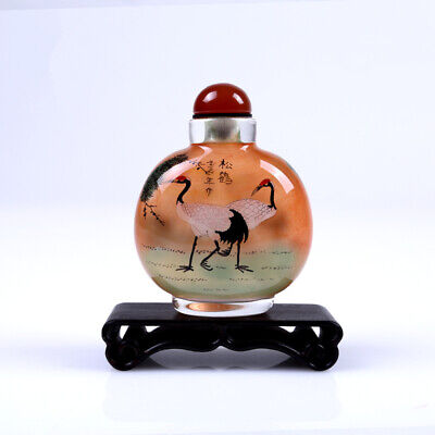Inner Painting Snuff Bottle Chinese Antique Cranes With Pine Tree Christmas Gift
