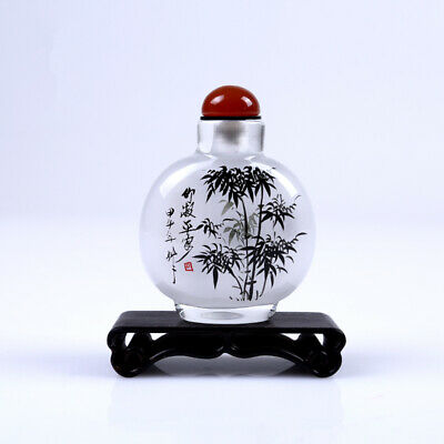 Inner Painting Snuff Bottle Chinese Antique Bamboo Symbolize Safety