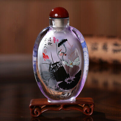Inner Painting Snuff Bottle Chinese Antique Beautiful Lotus as a Christmas Gift