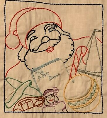 40 Completed Vintage Hand Embroidered Quilt Square Alphabet Bunny Santa Baby ABC