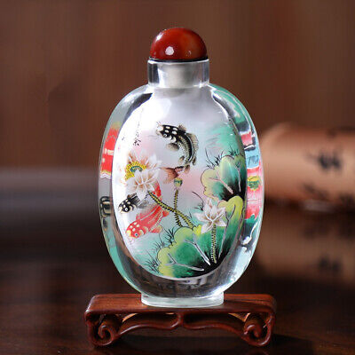 Inner Painting Snuff Bottle Chinese Antique Beautiful Fishes as Christmas Gift
