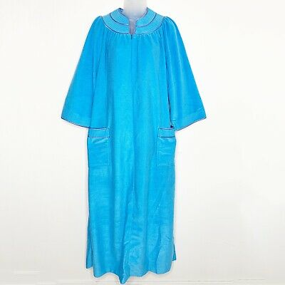 Evelyn Pearson Womens House Coat Robe Long Sz Large Vintage Blue Zip Up Pockets