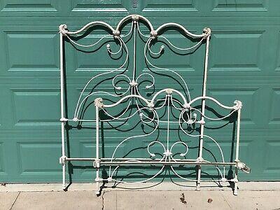 Antique Victorian Iron Full Size White Bed Vintage Bedroom Furniture