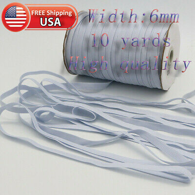 Elastic 1/4 Inch White Flat Knit for Face Masks 10 Yards in Band Sewing Mask UP