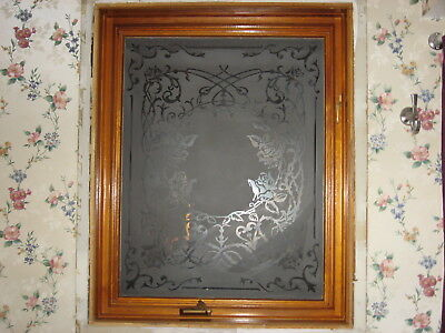 "Beautiful  Rose Design Etched Glass Window   .. Large 33"" x 41"""