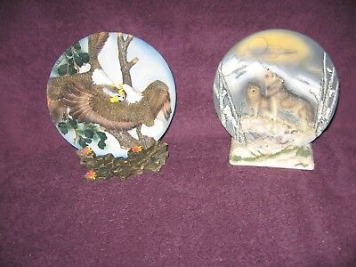 3 Dimensional Collectors Plates ...Wolf's At Night  /  Where Eagles Dare