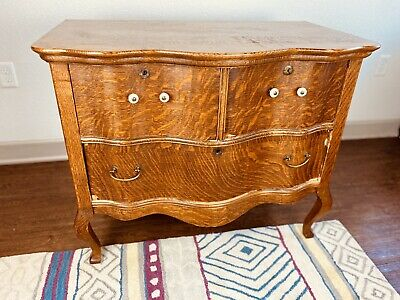 Vintage MidCentury Wood French Provencial Commode 3 Drawer Chest Accent Dresser