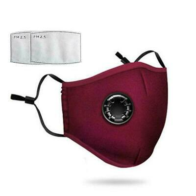 Air Purifying Face Mask Carbon Filter Vented Respirator Washable Red