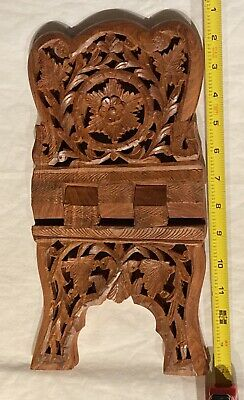 Folding Intricately Carved Wooden Book Bible Cookbook Holder Stand India